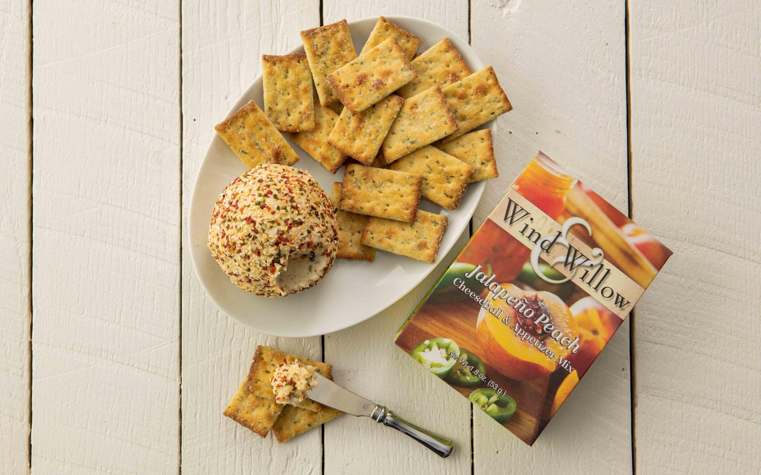 Jalapeno peach cheeseball and crackers, sweet and savory, sweet heat
