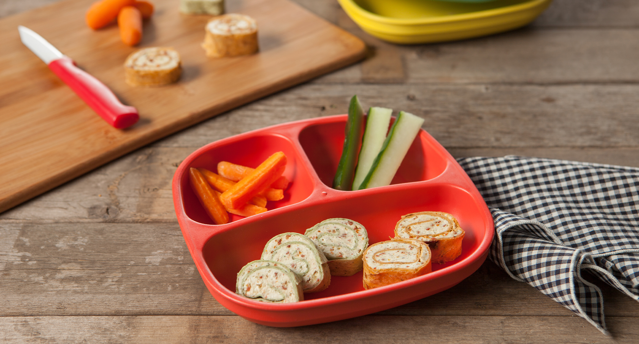 cream cheese pinwheels with fresh vegetables for an after school snack