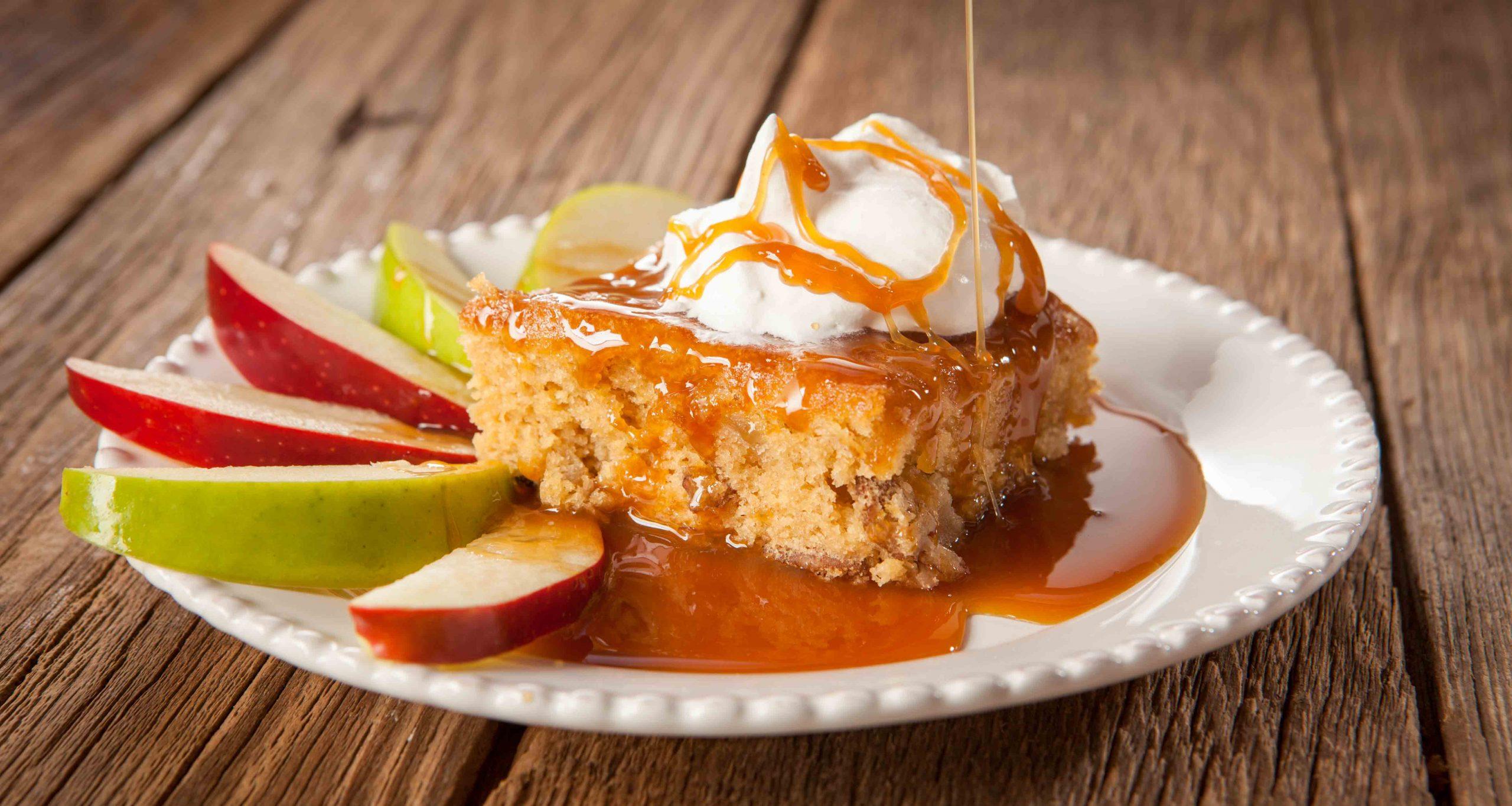 Gooey caramel apple cake for fall