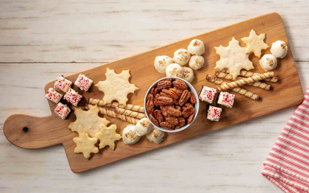 Candies on a holiday dessert charcuterie board