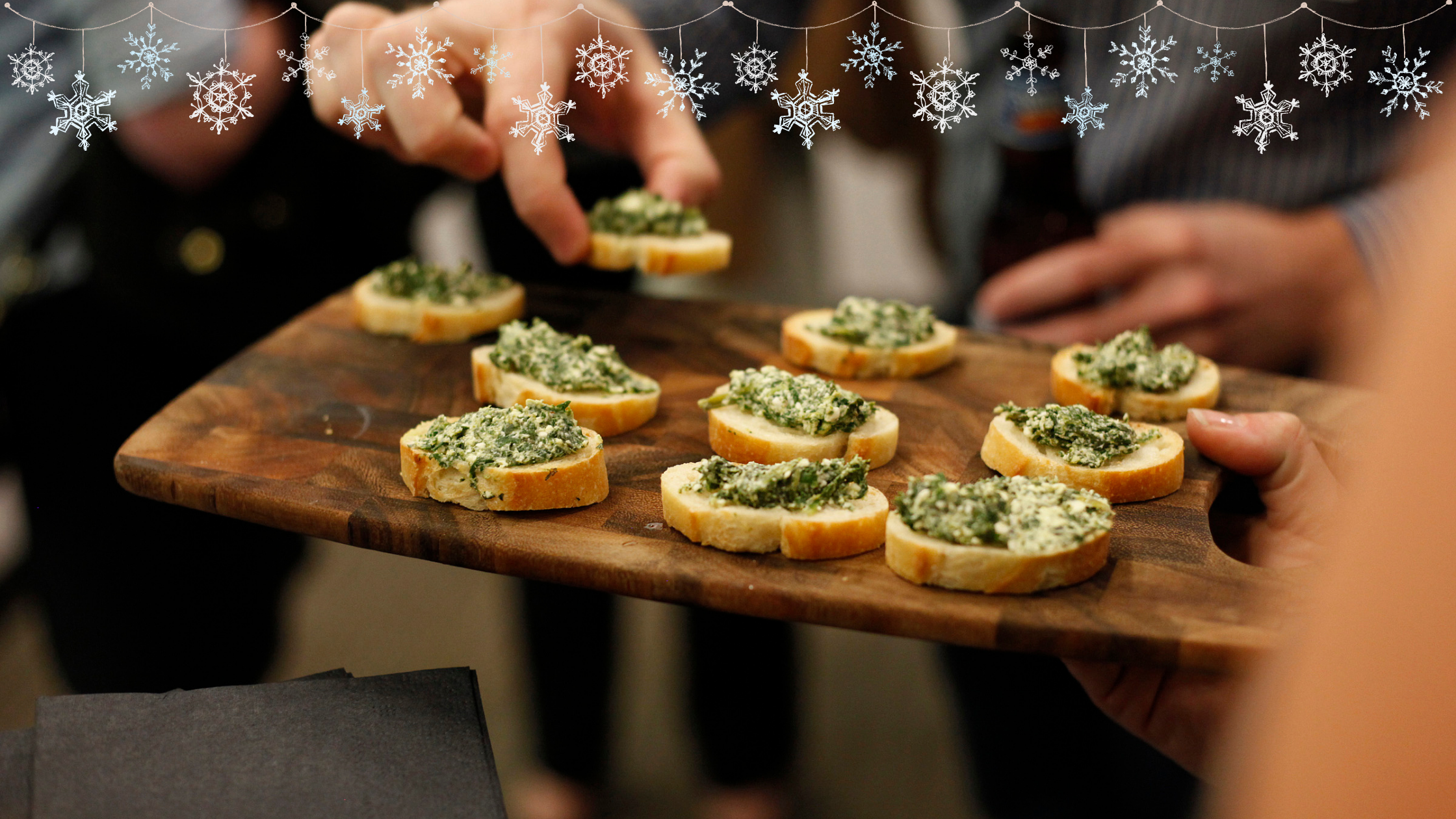 Easy crostini appetizer for thanksgiving and Christmas holiday gathering or party