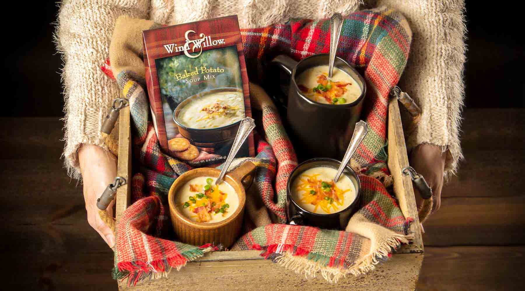 Baked potato soup in a mug, cozy winter dinner idea