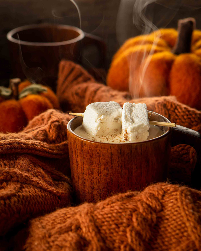 pumpkin spiced white hot chocolate fall autumn cozy aesthetic