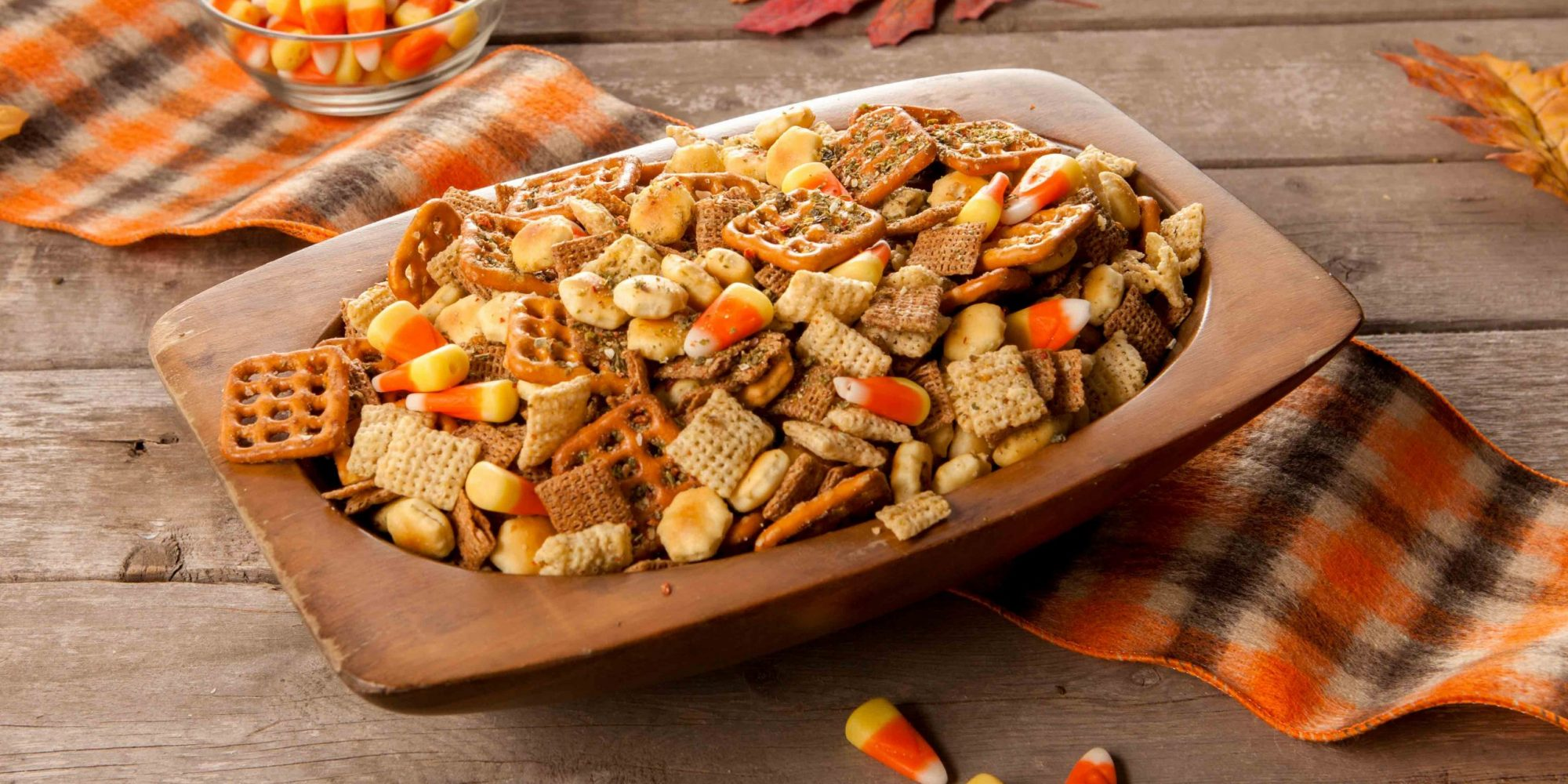 Fall homemade chex mix with candy corn