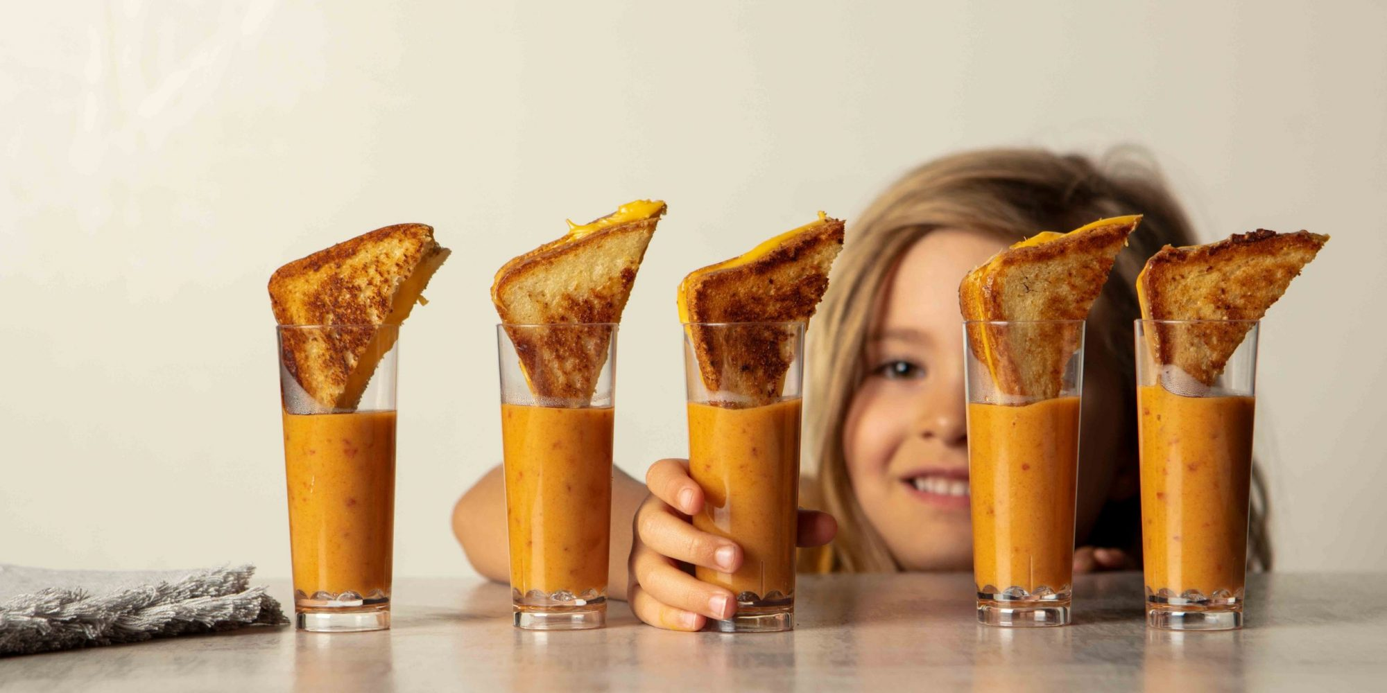 Grilled cheese and tomato soup shooters
