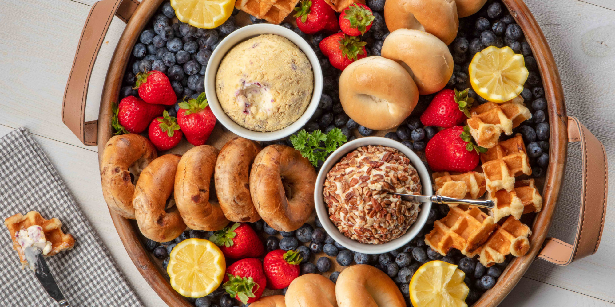 bagel and cream cheese brunch board