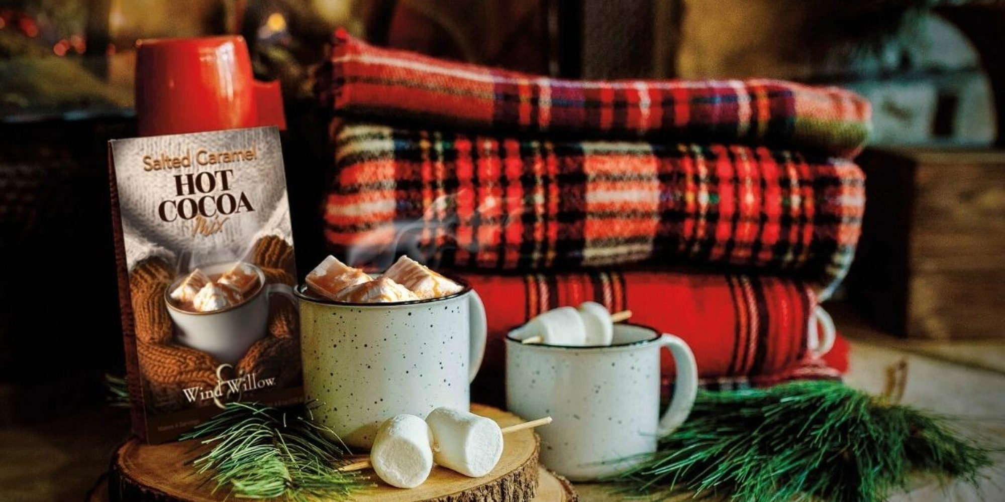 Cozy hot cocoa chocolate aesthetic fireplace plaid fall
